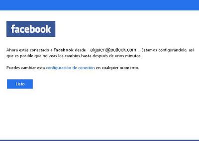 conectar facebook y outlook