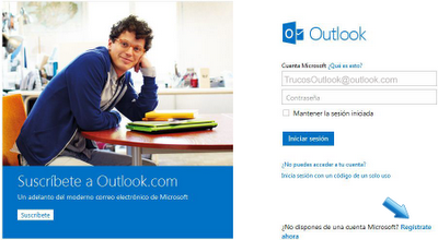 registrate en outlook
