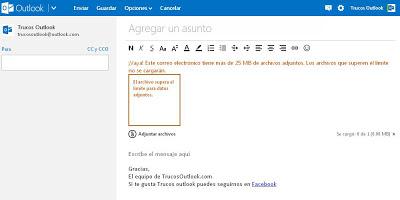 Enviar archivos en Outlook.com desde SkyDrive | Trucosoutlook.com