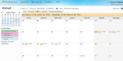 outlook calendario