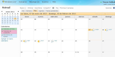 outlook calendario
