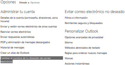 cambiar nombre en outlook
