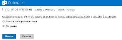 desactivar historial de mensajes messenger en outlook