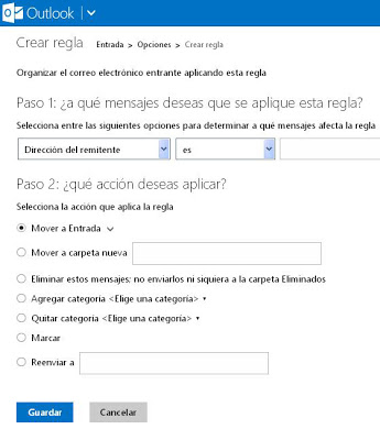 crear reglas en outlook