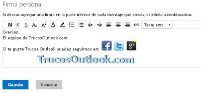 Añadir botones de redes sociales a la firma de Outlook.com | Trucosoutlook.com