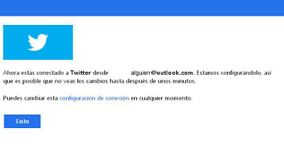 twitter y outlook conectados
