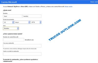 formulario de registro outlook