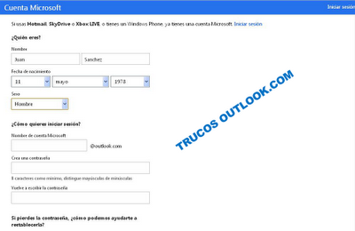 formulario de registro outlook