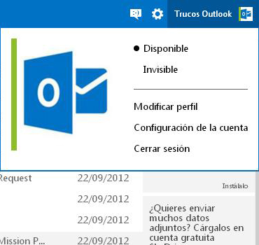 cambiar de estado en outlook
