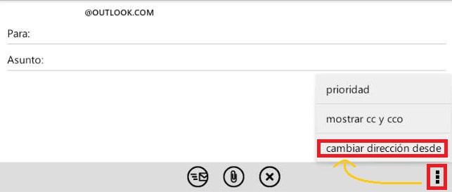 cambiar la dirección De en Outlook para Android
