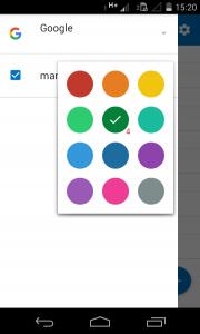 colores de los calendarios en Outlook para Android