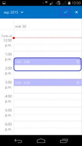 compartir horarios en outlook desde android