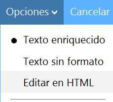 correo sin formato en Outlook.com