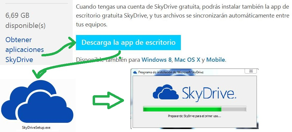 descargar e instalar SkyDrive para escritorio