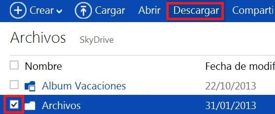 descargar una carpeta completa desde SkyDrive