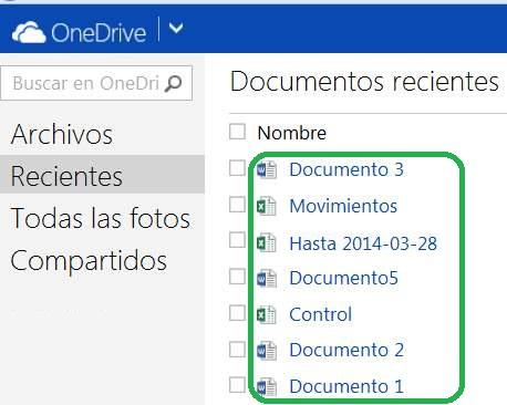 documentos recientes de OneDrive