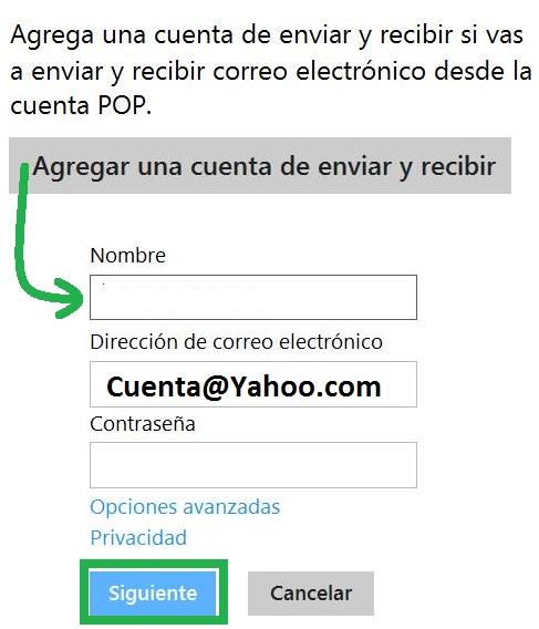 leer correos de Yahoo en Outlook.com