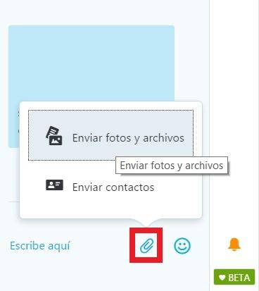 mandar fotos en Skype para Outlook.com