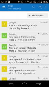 menu anterior de Outlook para android