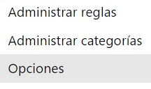 menu opciones en outlook.com