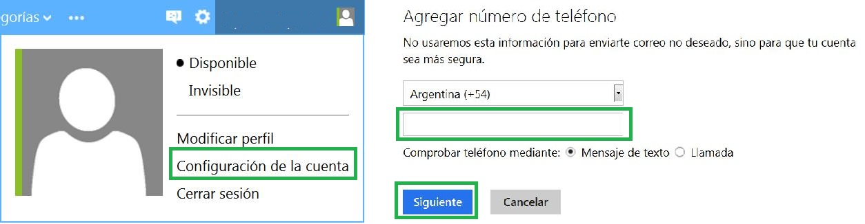 número de celular a la cuenta de Outlook.com