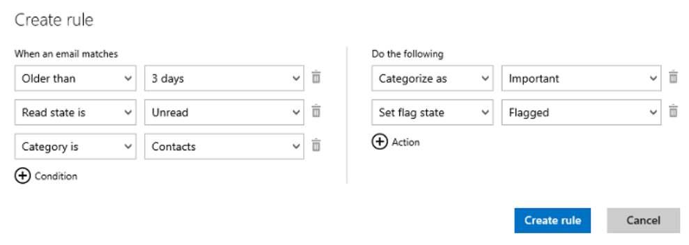 nuevas funciones de Outlook.com reglas avanzadas