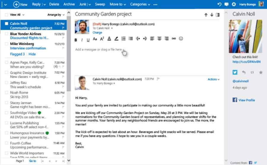 nuevas funciones de Outlook.com respuesta en linea