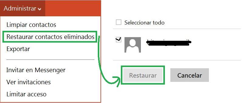 restaurar los contactos eliminados en Outlook.com