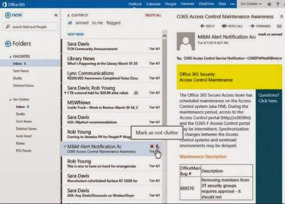 sistema Clutter de Outlook.com