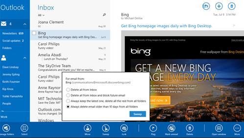 versión de Outlook.com para Windows 8.1