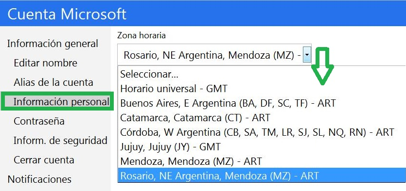 zona horaria en Outlook.com